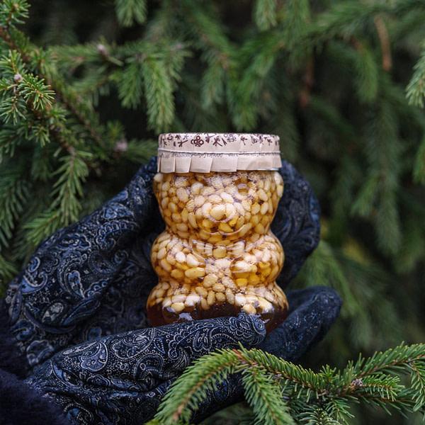 Таёжный мёд с кедровыми орешками 350 мл